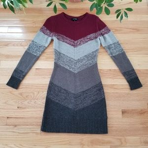 A. BYER | Maroon and Grey Chevron Sweater Dress